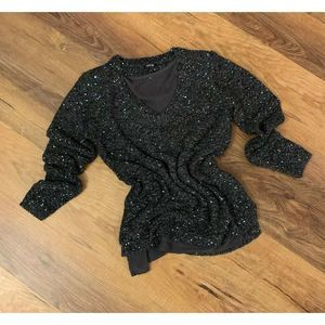 Apt. 9 By Kohl's Women's Gray Teal Sparkly Sweater